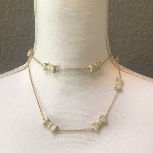 New Kate Spade necklace: gold with off white bows